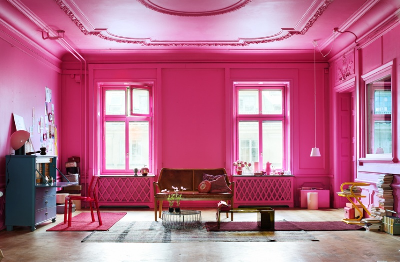 vintage bright pink living room inspiration